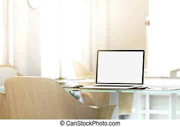 Blank laptop screen mockup in office, depth of field effect,...