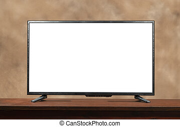 Blank Large Screen TV With Copy Space On Table