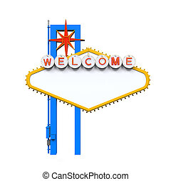 Blank Las Vegas Welcome Sign isolated on white background. ...