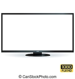 Blank LCD LED TV with White Screen. Vector Illustration