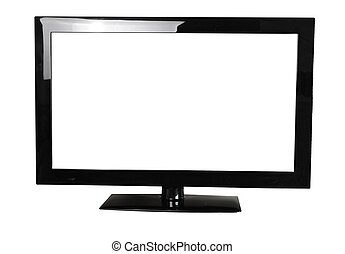 blank lcd monitor isolated on white background