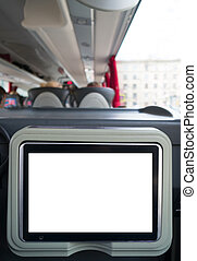 Blank lcd screen in the travel coach.
