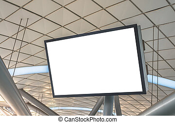 Blank LCD Screen mock up in Subway station .