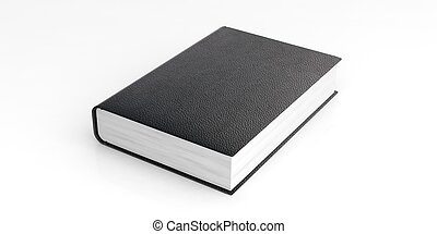 Blank leather book template on white background. 3d illustration