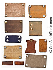 Blank Leather Labels Set - Blank leather jeans labels on...