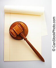 blank legal pad and law gavel