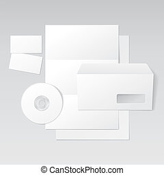 Blank Letter, Envelope, Business cards and CD template. Vector Illustration
