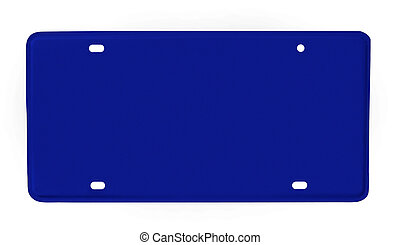 blank license plate blue