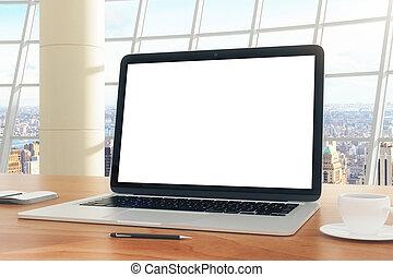 blank lichten door, van, draagbare computer, op de tafel, in, de werkkring, met, stadsmening
