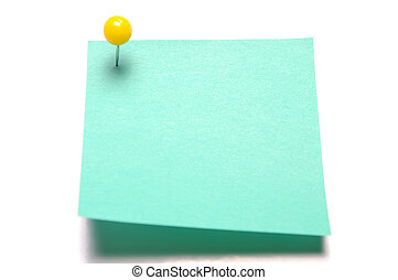 Blank light green recycle sticky note with yellow push pin