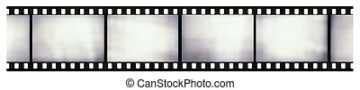 Blank light leaked highly detailed real vintage 35mm black-and-white negative film frame, hard grain, dust and scratches visible, isolated on white background