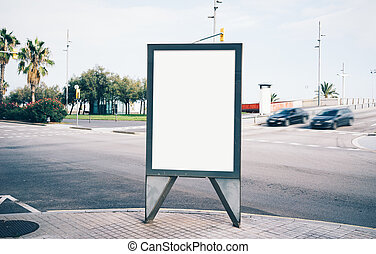 Blank lightbox on the street of a city. Horizontal