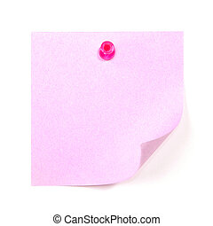 Blank lilac sticky note pinned by the red pin isolated on...