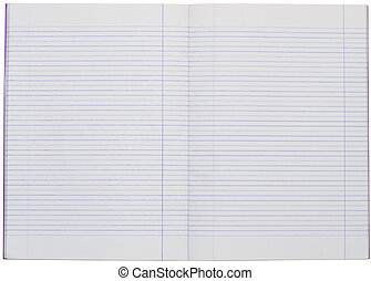 blank line notebook paper - white background
