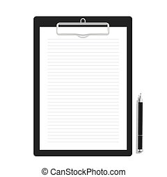 Blank line paper on a clipboard and black pen mock up vector...