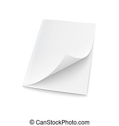 Blank magazine template with elevated cover.e on white...