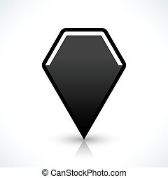 Blank map pin flat location icon hexagon sign
