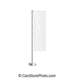 Blank marketing flag standing banner 3d mockup vector illustration isolated.