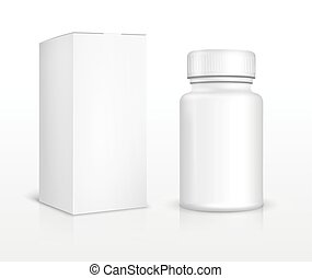Blank medicine bottle and package box. Medical pill, ...