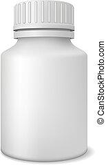 Blank medicine bottle.