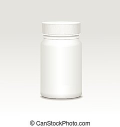 Blank medicine bottle realistic vector illustration.