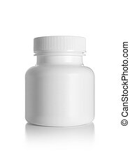 Blank medicine bottle isolated on white background,...