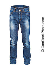blank men's jeans on isolated white background