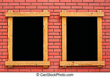 Blank menu blackboard on cafe wall