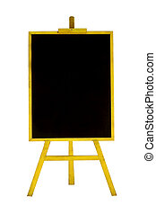 Blank menu chalkboard in wooden frame isolated on white background