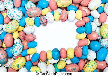 Blank message card in candy Easter eggs