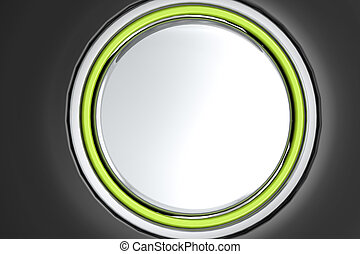 Blank metal button on black background