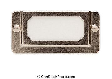 Blank Metal File Label Frame on White - Blank Metal File...