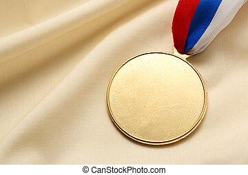 Blank metal medal - Metal medal on silk wrinkled cloth