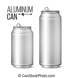 Blank Metallic Can . Silver Can. 3D packaging. Mock Up Metallic Cans For Beer Or Soft Drink. 500 And 300 ml. Isolated On White Illustration