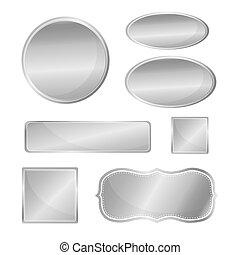 Blank metallic icon set silver