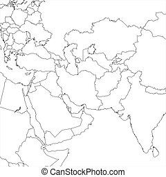 Blank Middle East regional map in orthographic projection.