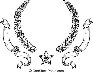 Blank military or heraldry wreath - Doodle style military...