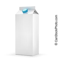 Blank milk carton package isolated on white background