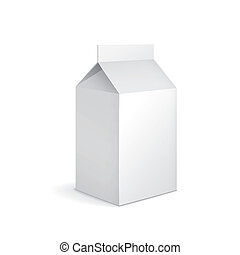 blank milk carton package isolated on white