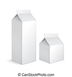blank milk carton packages isolated on white