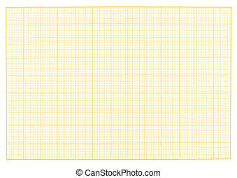 Blank millimeter grid yellow paper sheet background or...