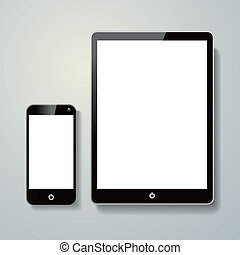 blank mobile phone and touch pad isolated over grey...