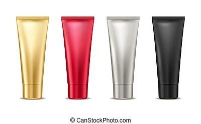Blank mock up gold, red, silver and black tube for cosmetic product set isolated on white background, package container for cream, lotion, toothpaste, vector