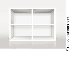 blank modern bookcase isolated on white background