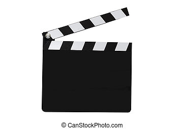 Blank movie clapboard isolated on white background with clipping path.