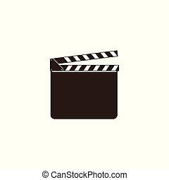 Blank movie clapper, clapboard, black open clapperboard and slate board for film industry.