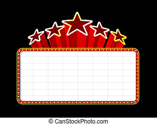 Blank movie, theater or casino marquee with stars isolated on black background