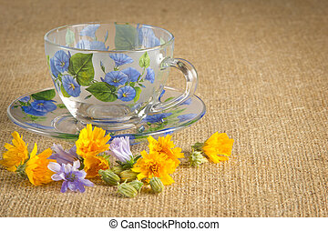 mug for tea with blue and yellow flowers