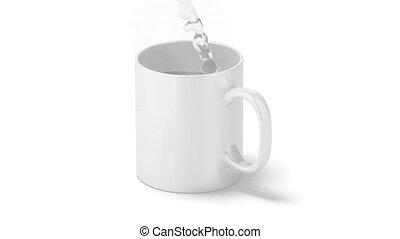Blank mug mock up, with hot boiling water - Blank white...