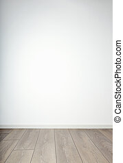 blank muur, &, houtenvloer